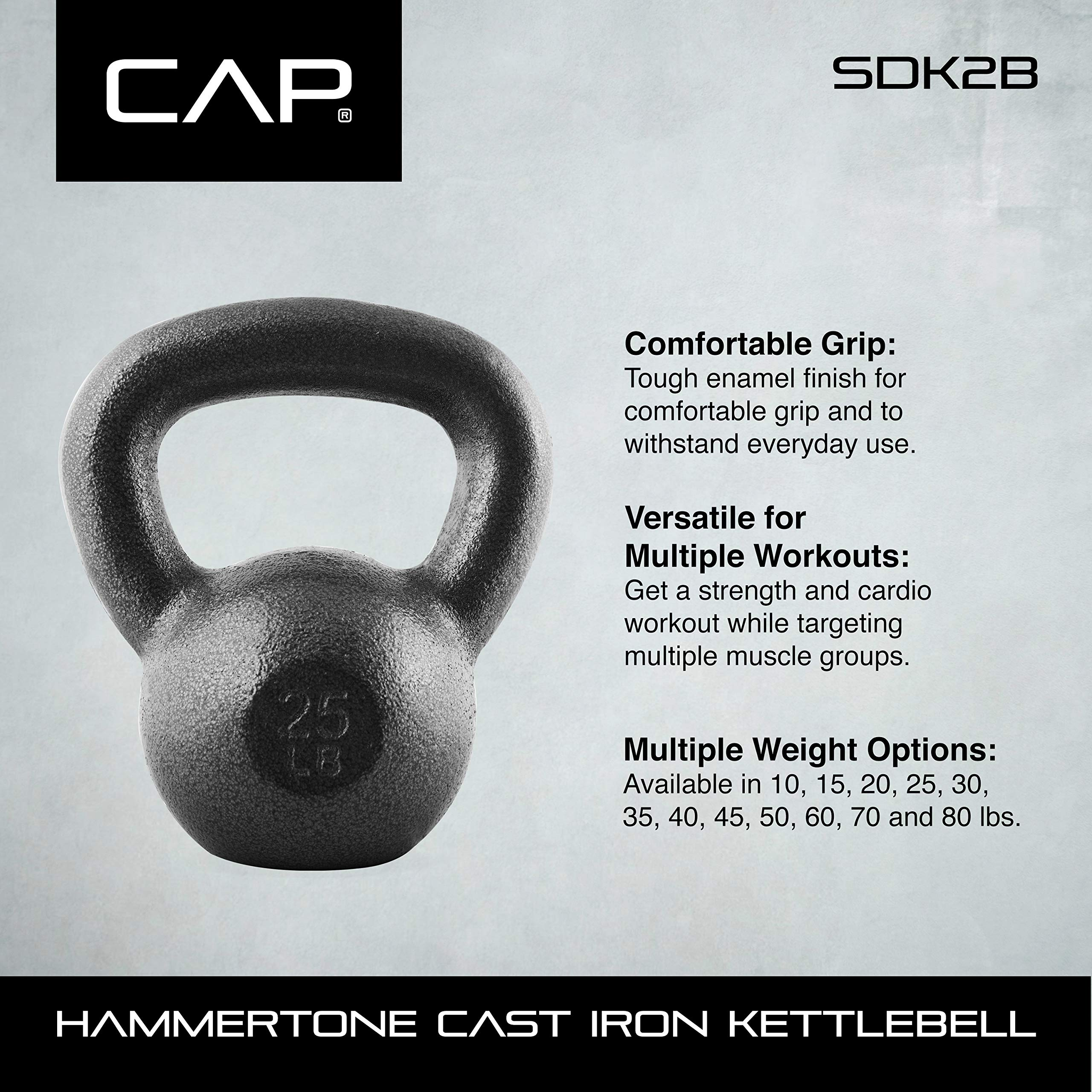CAP Barbell Cast Iron Kettlebell, Black, 10 lb. by CAP Barbell (Image #7)