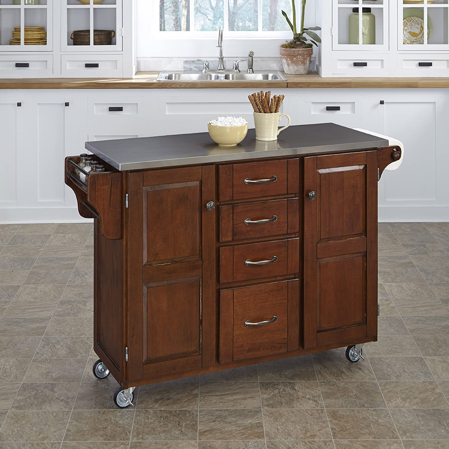 Create-a-Cart Medium Cherry 2 Door Cabinet Kitchen Cart with Stainless Steel Top by Home Styles