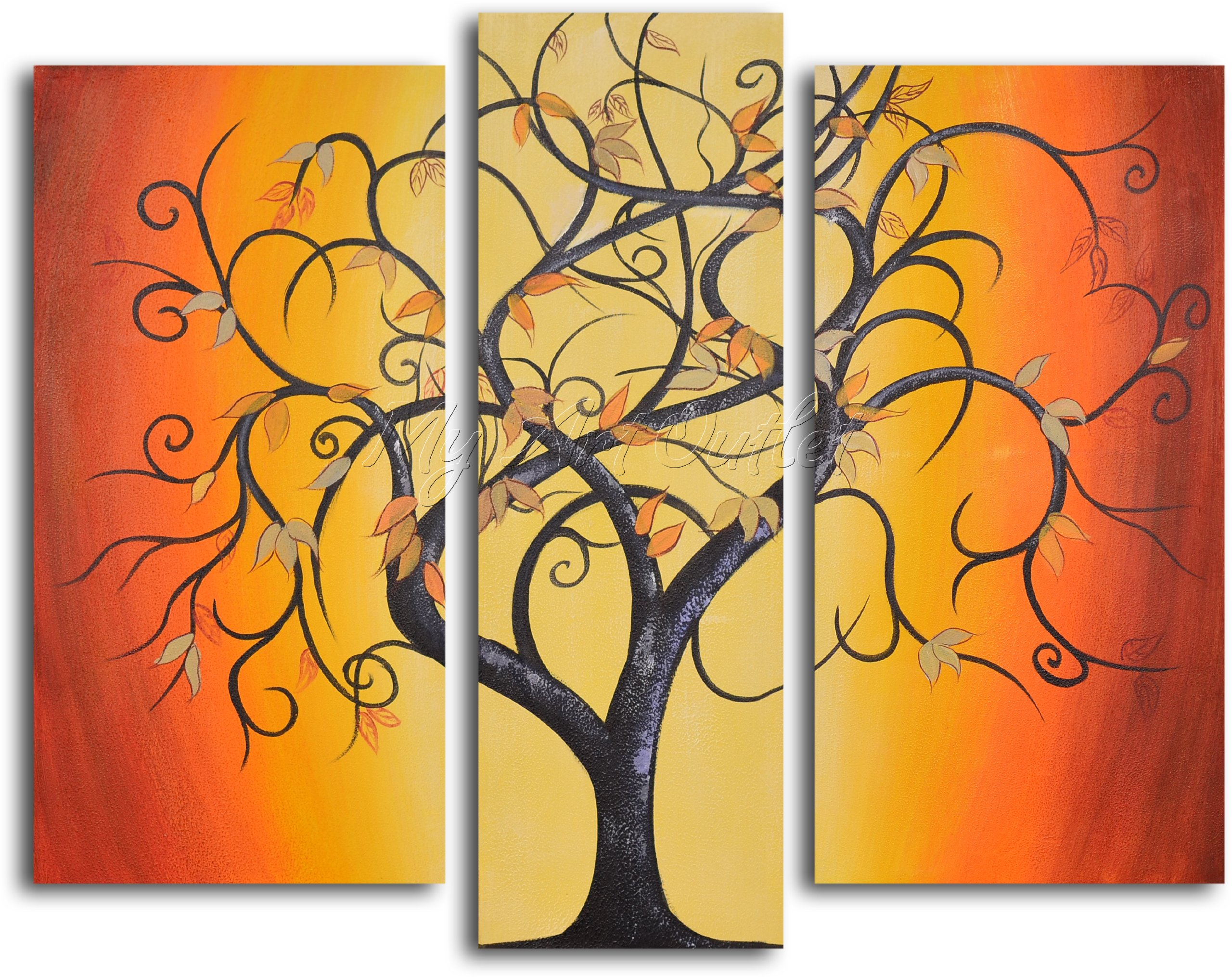 MyArtOutlet 3-Piece Hand Painted Thai Tree Dance Oil Painting Set by MyArtOutlet