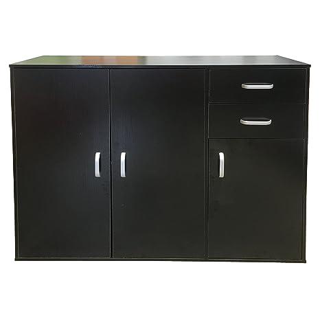 Redstone Sideboard Kommode 3 Türen 2 Schubladen (Schwarz)