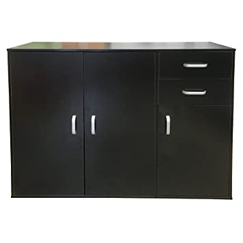 Kommode schwarzbraun  Redstone Schwarz Sideboard Kommode - 3 Türen + 2 Schubladen - Holz ...