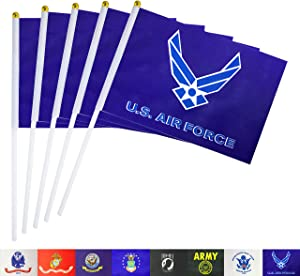 TSMD US Air Force Wings Stick Flag 50 Pack Small Mini Handheld United States Military Polyester Flags,Decorations Supplies for Army Party Events Celebration