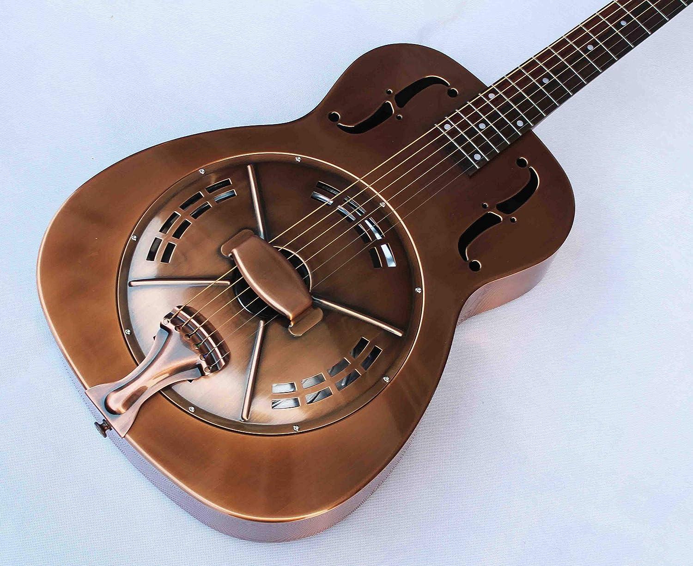 Guitarra de resonador eléctrico de cuerpo de latón, estilo O de la ...