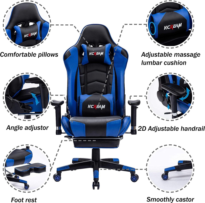 KCREAM Gaming Stuhl mit Fu/ßst/ützen Ergonomisches Chefsessel B/ürostuhl mit Massage Lendenkissen PU Leder Stoff Gamer PC Drehstuhl Schwarz