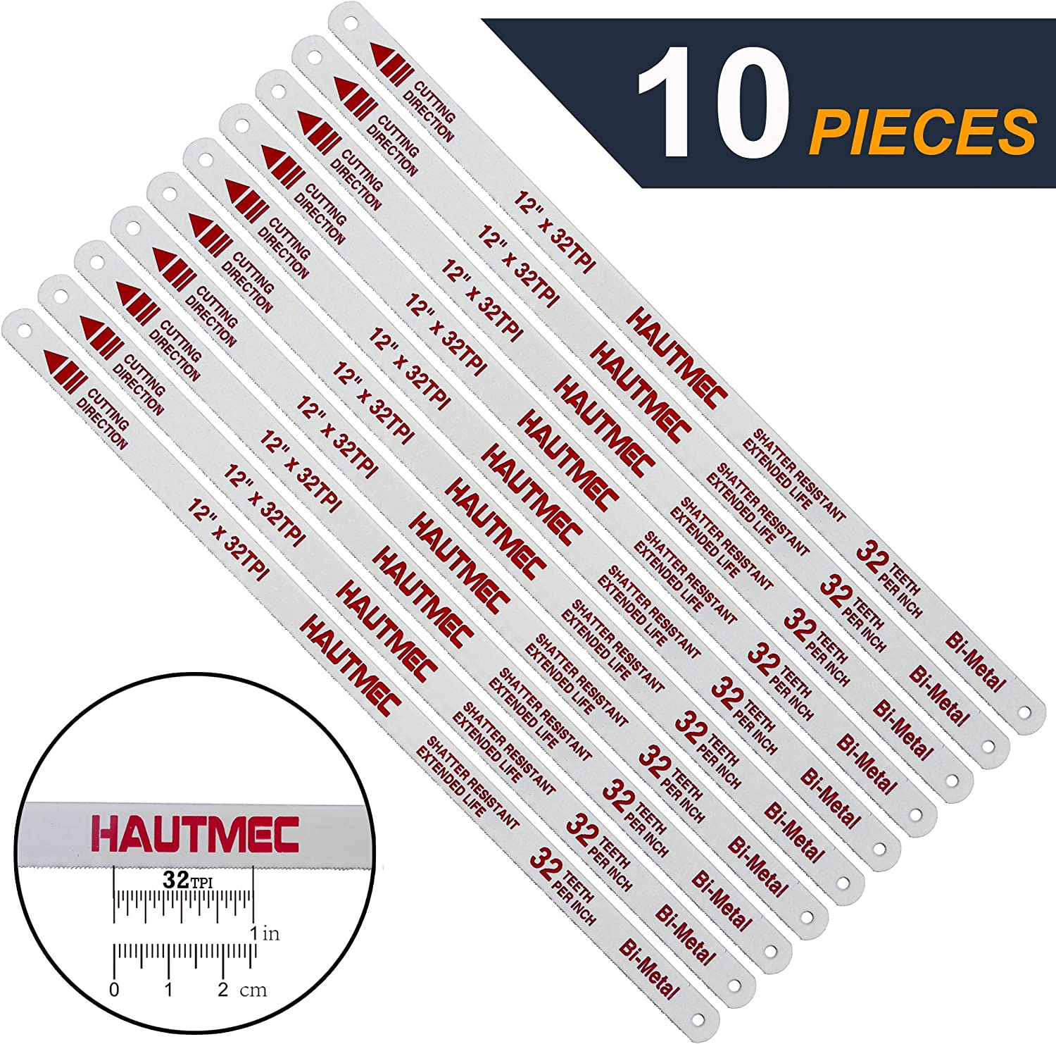 "HAUTMEC Hacksaw Replacement Blades BI-METAL (10 Pack) High Speed Steel Grounded Teeth 32 TPI x 12"" Length 0.025"" Thick x 1/2"" Width HT0018-CT"