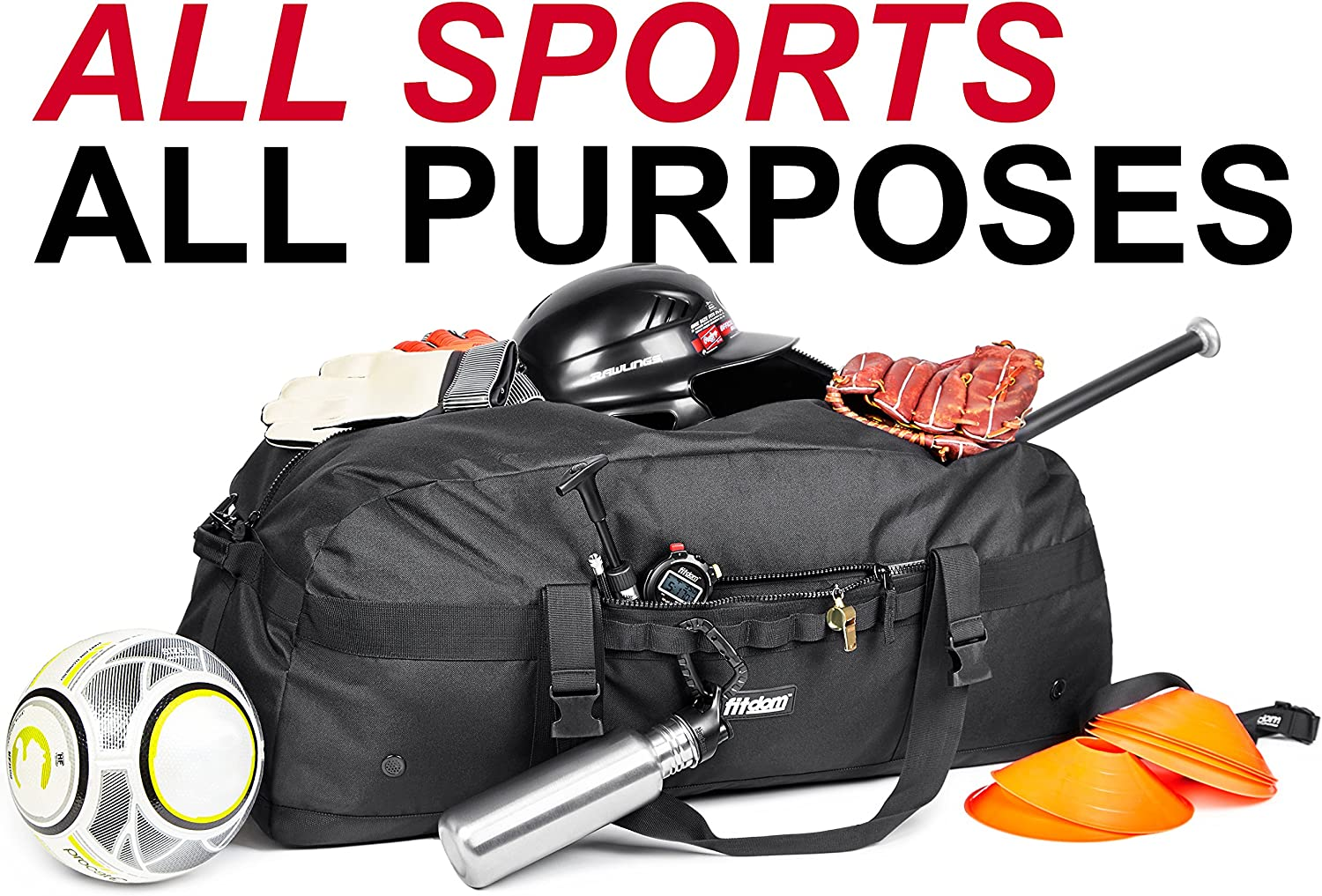 | Fitdom Heavy Duty Extra Large Sports Gym Equipment Travel Duffel Bag W/Adjustable Shoulder & Compression Straps. Perfect for Team Coaches & Best for Soccer Baseball Basketball Hockey Football & More | Sports Duffels