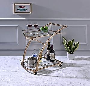 Kings Brand Furniture - Delfair Rolling Bar Kitchen Serving Cart, Metal/Glass, Gold