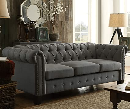 DG Casa 6000-3S-GRY Southampton Tufted Living Room Chesterfield Sofa Couch  in Grey Fabric