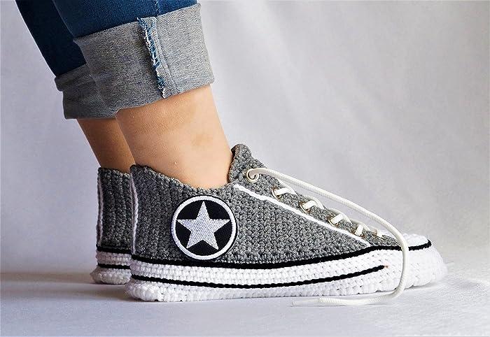 3f36bec9dadb62 Home Knitting Slipper Womens Warm Indoor Slippers Non Slip House Crochet  Shoes