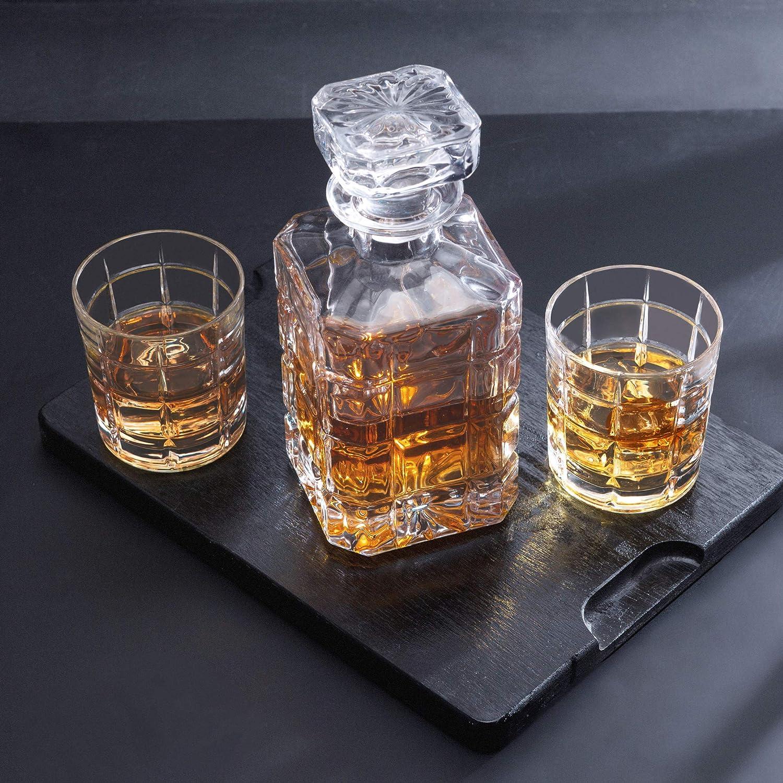 KANARS Jarra de Whisky, 5 Piezas, 100% Libre de Plomo Cristalino Resistente Botella de Whisky Set para Scotch, Bourbon, 800ml Decantador y 4 Vasos de ...