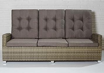 Luxus Polyrattan Sofa mit verstellbaren Rückenlehnen Gartensofa ...