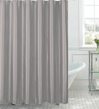 Jane Faux Silk Shower Curtain With 12 Metal Rings Silver