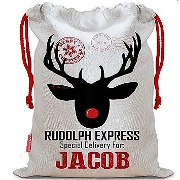 273511848205f Sac de Noël personnalisé Motif renne Rudolph Express Chaussette de Noël sac  cadeau Père Noël Lettres