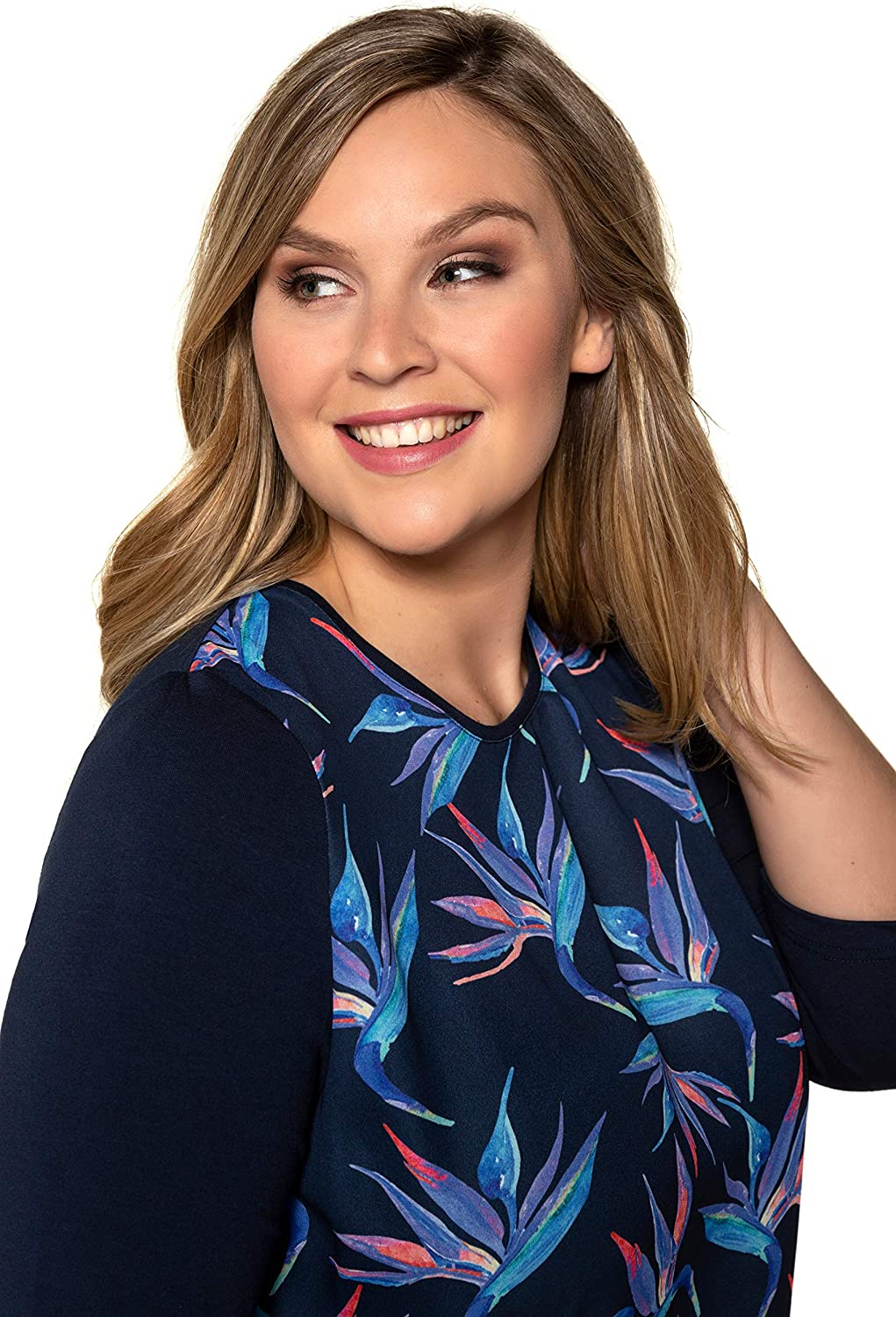Ulla Popken Womens Plus Size Orchid Print Mixed Fabric Top 720639