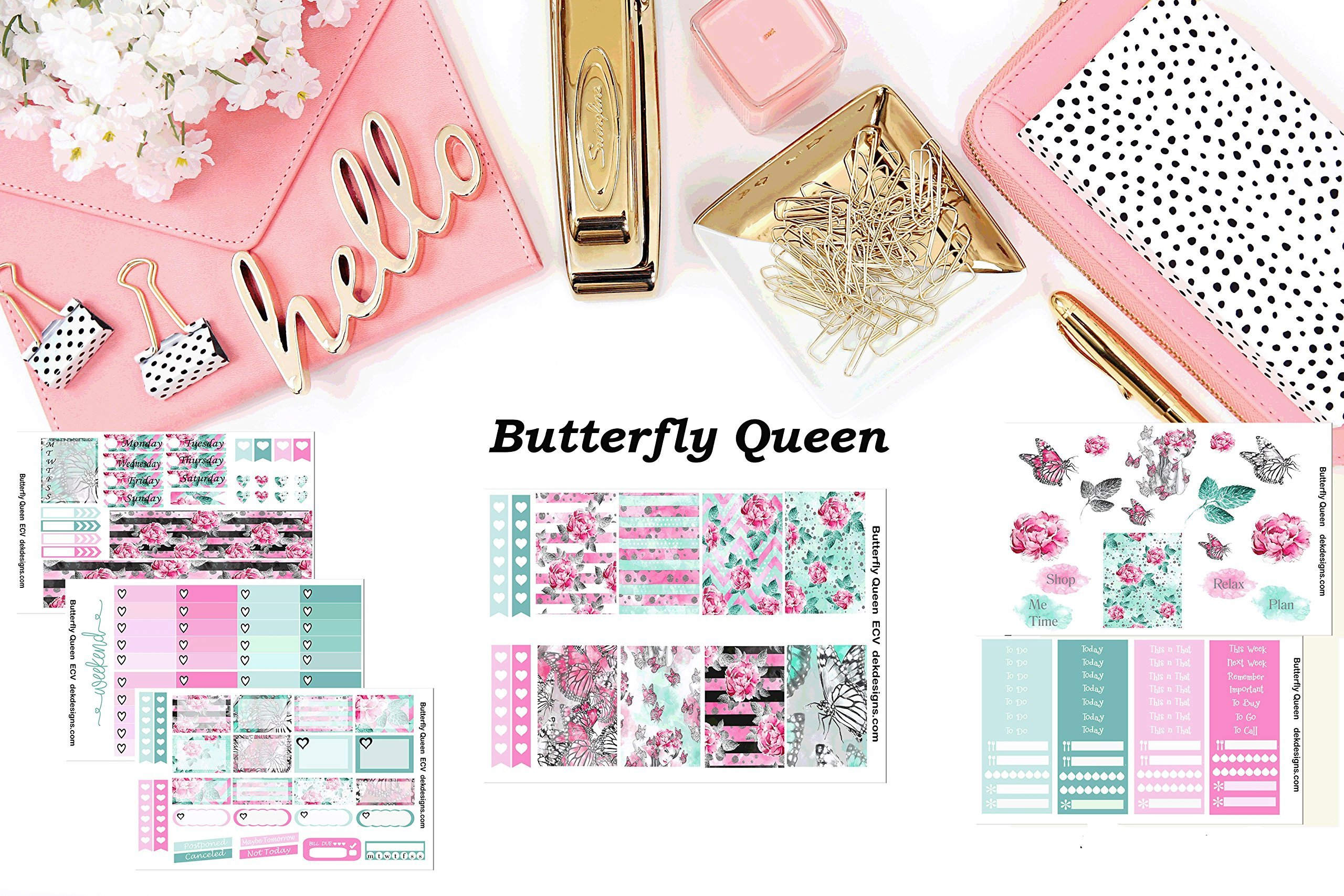 Butterfly Queen, Planner Sticker Kit 6 sheets on matte. Erin Condren Life Planner or Happy Planner Create 365 sizes available. Kiss cut, just peel and stick.