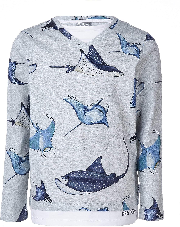 Baumwolle f/ür 8-13 Jahre Gulliver Junge Langarmshirt V-Ausschnitt Farbe Hell Grau mit Tiermotiv Muster