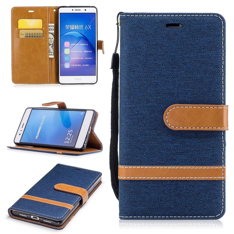 Cover Huawei P9 Lite, Lomogo Custodia Portafoglio in Pelle Porta Carta di Credito con Chiusura Magnetica per Huawei P9Lite - BIFE23106 Blu navy