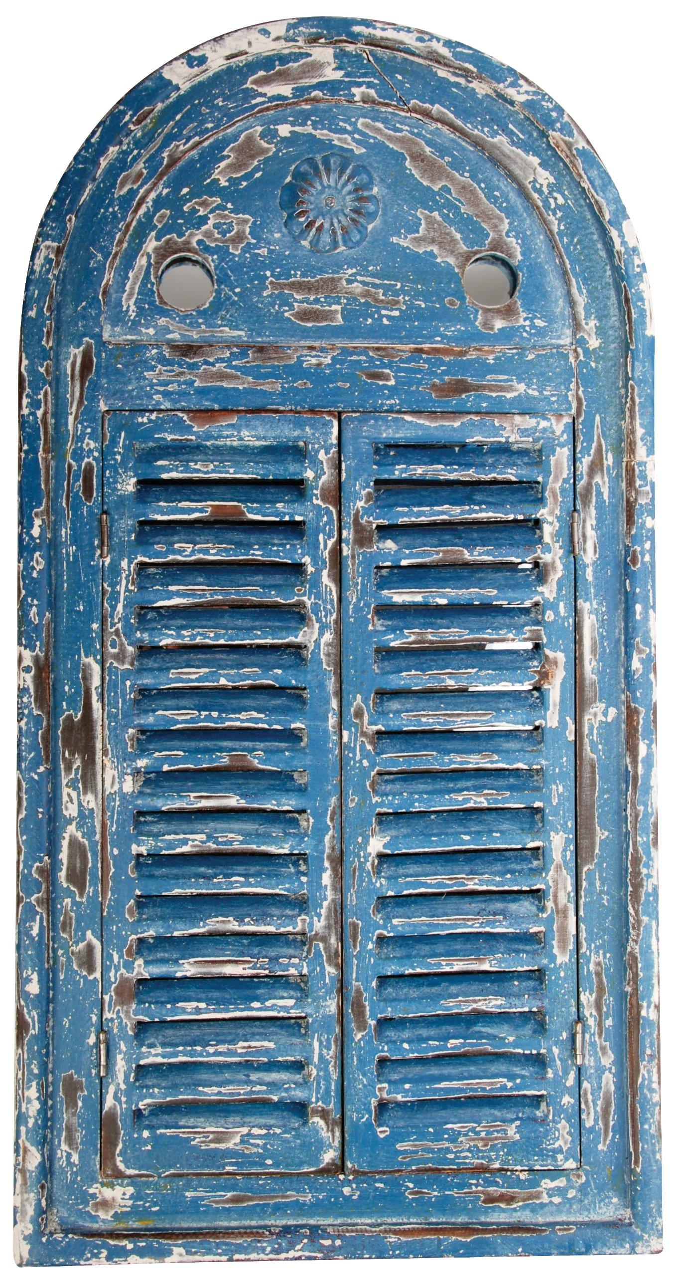 Esschert Design WD13 Mirror Louvre Distressed, Blue Finish