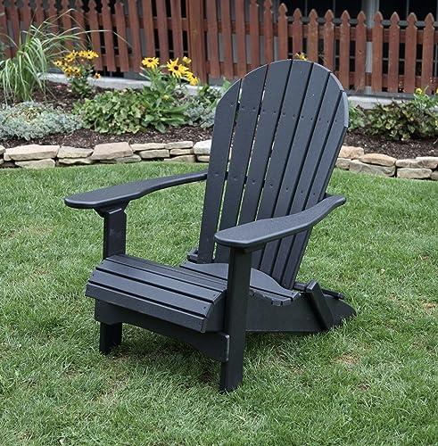 Ecommersify Inc Black-Poly Lumber Folding Adirondack Chair