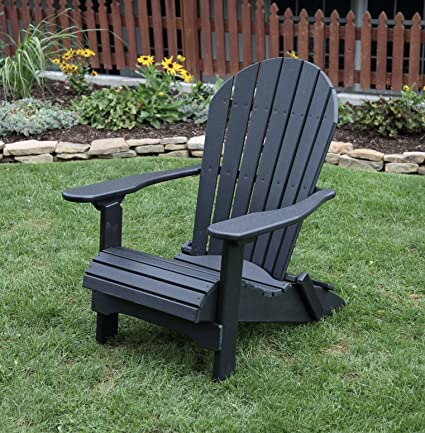 BLACK POLY LUMBER Folding Adirondack Chair With Rolled Seating Heavy Duty  EVERLASTING Lifetime PolyTuf HDPE
