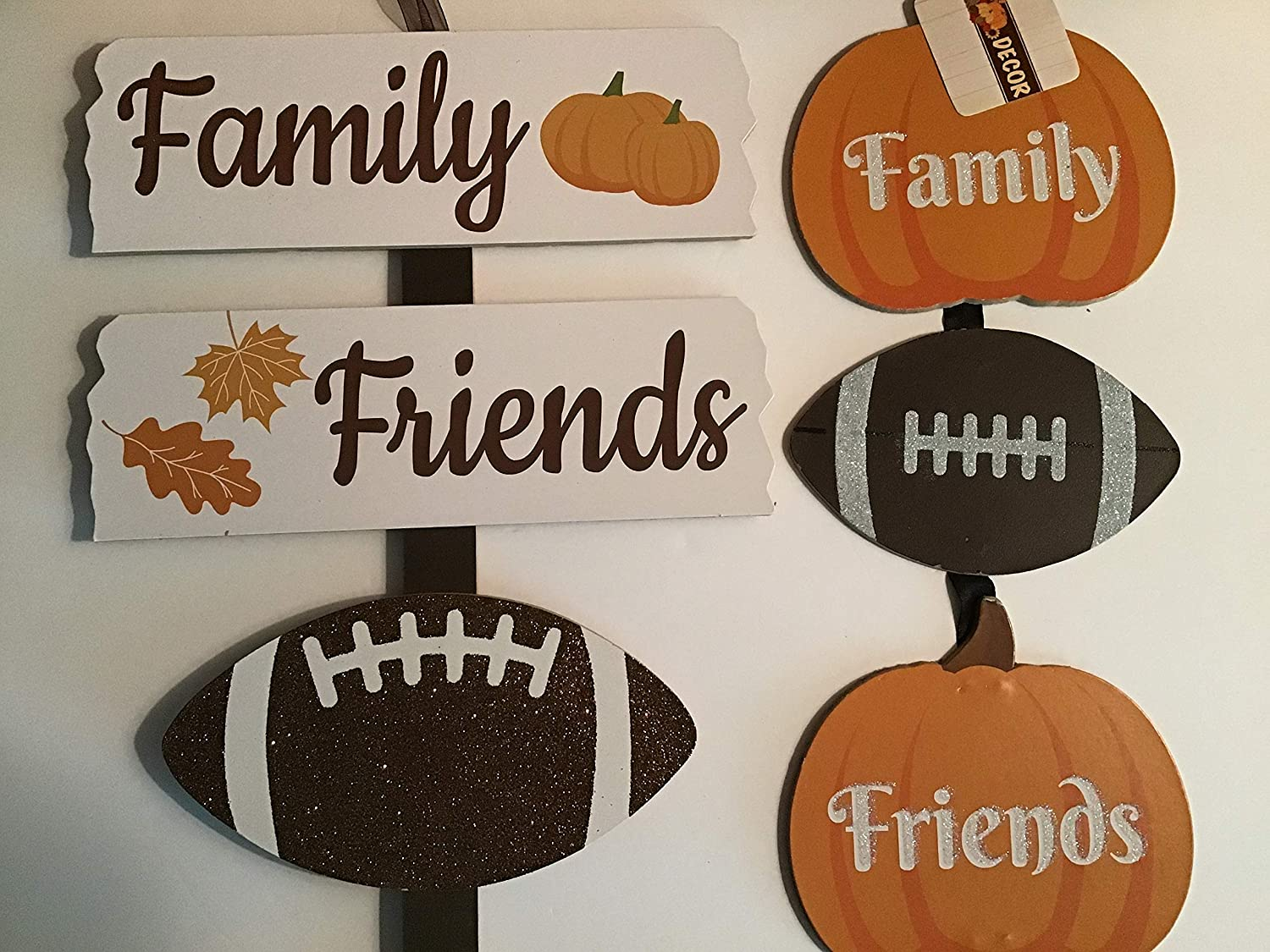 """Greenbriar Fall Autumn Harvest Family Friends Football Stake and Wall Decor, 23"""" Set of 2"""
