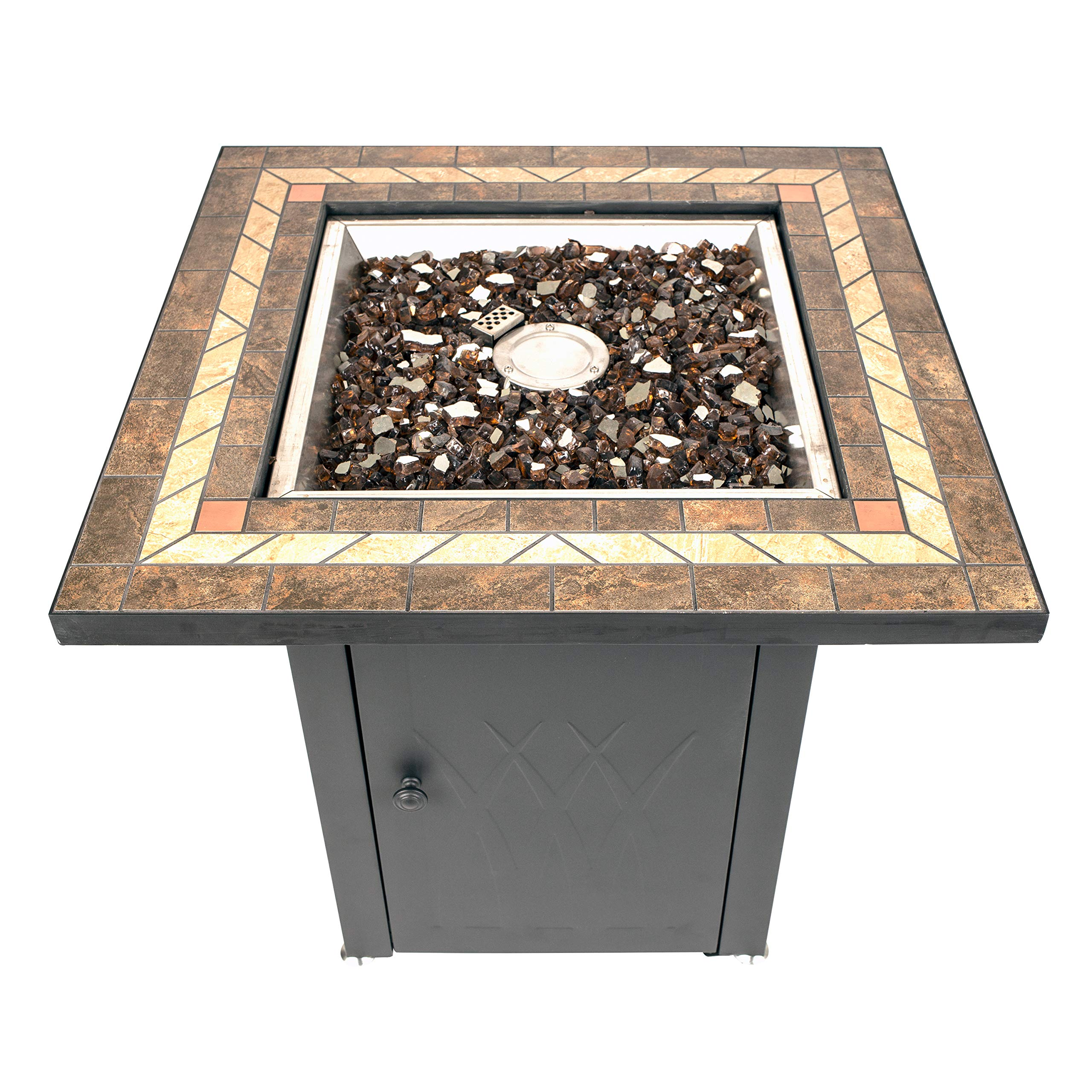 Pleasant Hearth OFG824T Atlantis Table Gas fire Pit, Matte Black/Tile Top by Pleasant Hearth