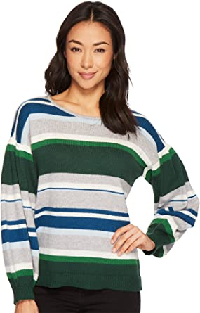 4b03f7b5f0 CeCe Womens Jersey Stripe Balloon Sleeve Striped Sweater at Amazon Women's  Clothing store: