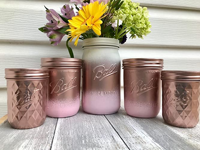 Set Of 5 Rose Gold And Blush Pink Painted Mason Jars Centerpieces, Baby  Shower,