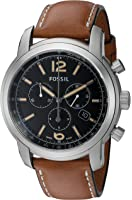 Fossil FSW7005 Swiss Made Chronograph Leather Watch - Tan
