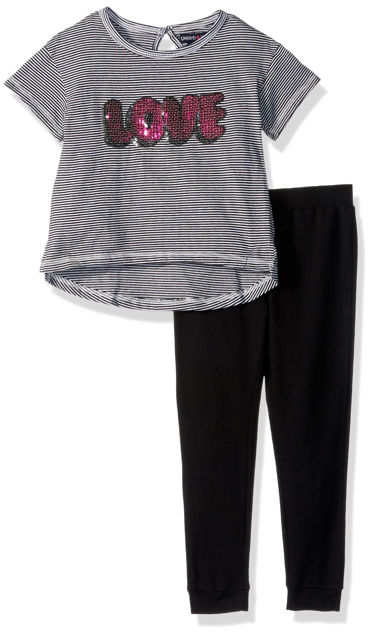Limited Too Toddler Girls' Fashion Top Pant Set (More Styles Available), Black/White, 3T