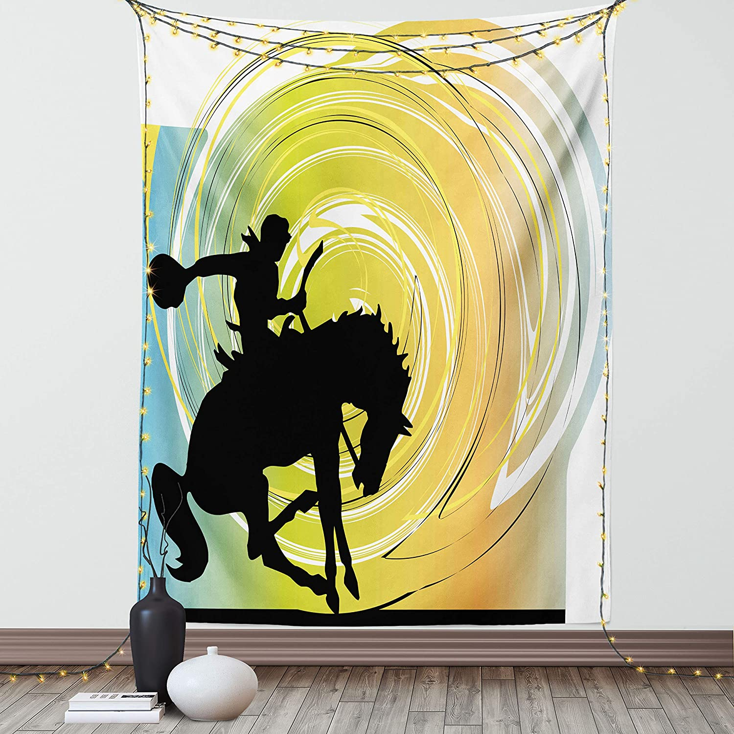 Lunarable Western Tapestry, Galloping Horse Cowboy Silhouette Colorful Abstract Circular Backdrop, Fabric Wall Hanging Decor for Bedroom Living Room Dorm, 23
