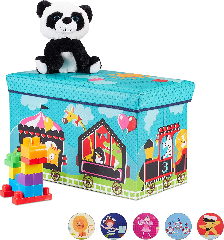 Relaxdays Baúl para juguetes, Taburete infantil, Plegable, Para niños y niñas, Circo