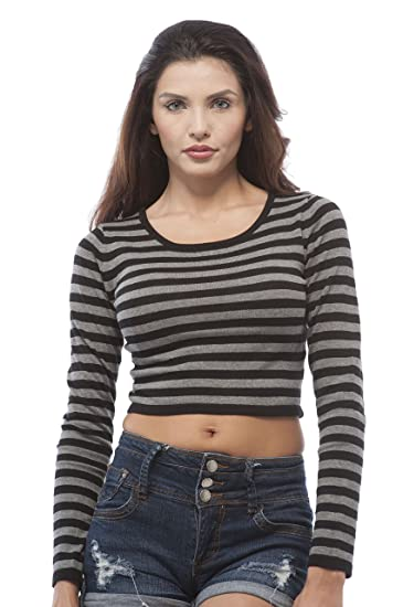 cda82b437b Hollywood Star Fashion Women s Long Sleeve Striped Knit Crop Sweater  (Small