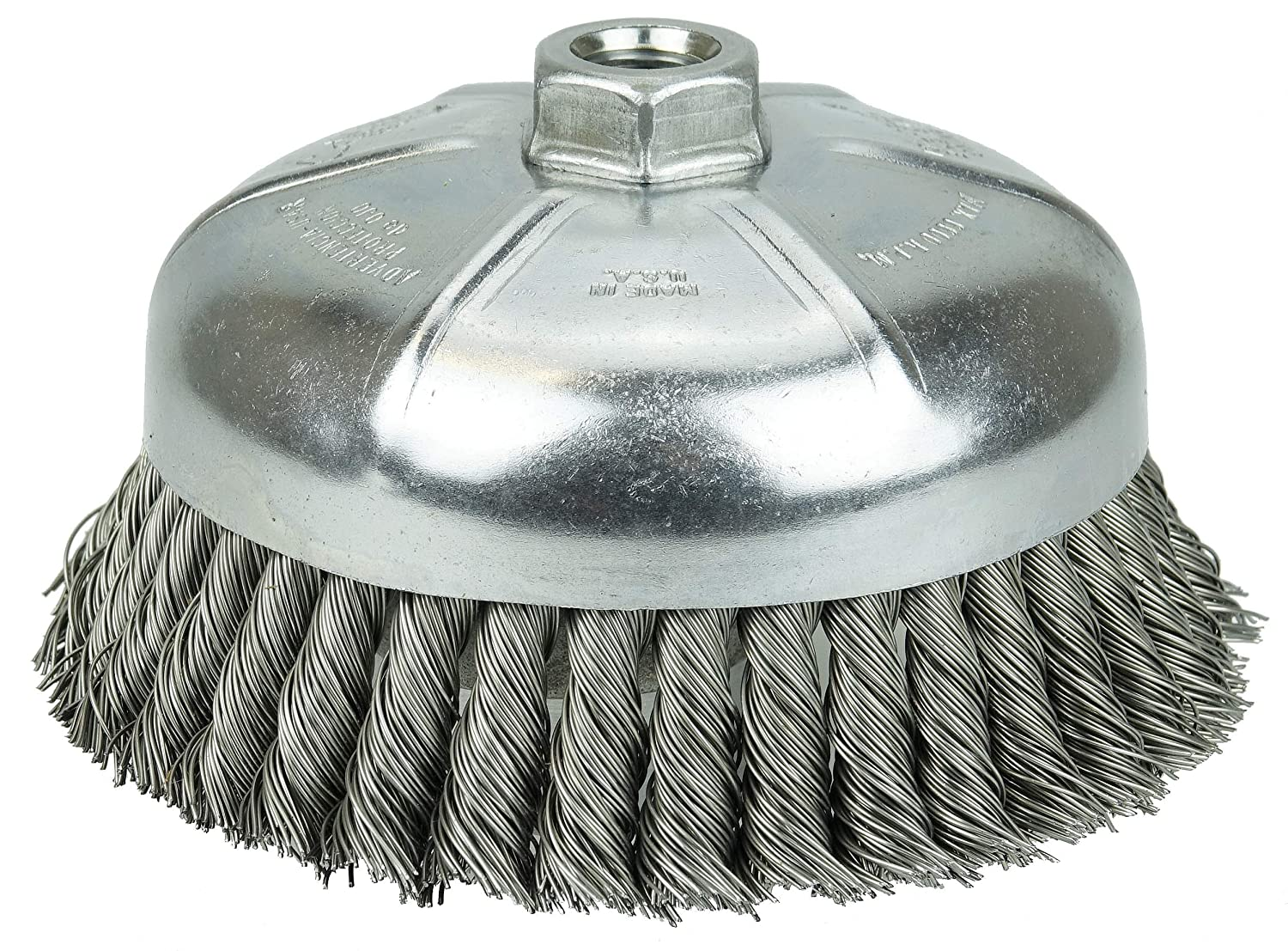 9000 rpm Single Row Weiler Wire Cup Brush Steel 4 Diameter 0.035 Wire Diameter 5//8-11 Arbor 1-1//4 Bristle Length 12326 Threaded Hole Partial Twist Knotted 4 Diameter 5//8-11 Arbor Pack of 1 1-1//4 Bristle Length 0.035 Wire Diameter