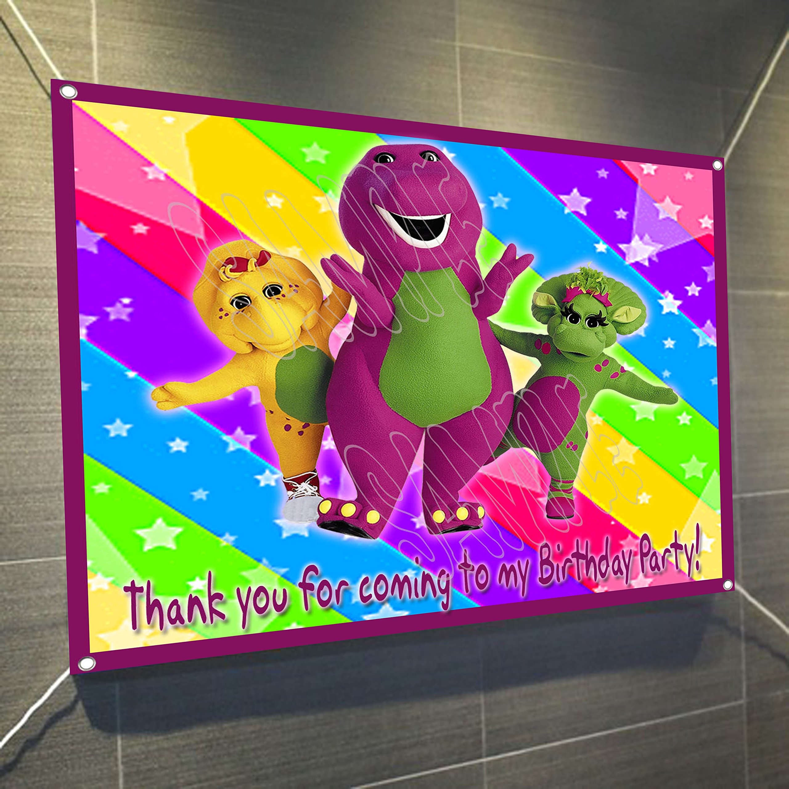Barney Purple Dinosaur Large Vinyl Indoor or Outdoor Banner Sign Poster Backdrop, party favor decoration, 30'' x 24'', 2.5' x 2'
