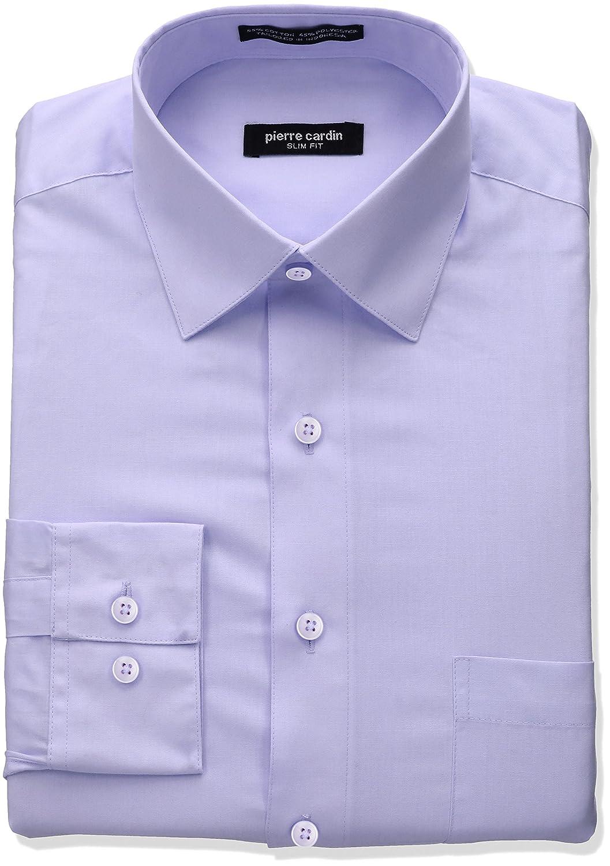 Pierre Cardin Mens Slim Fit Solid Broadcloth Semi Spread Collar