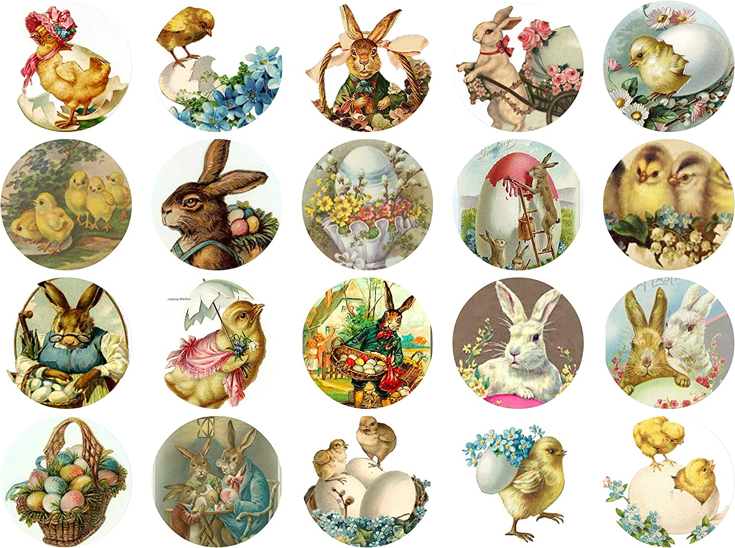 Scrapbooking Vintage Victorian Easter Circles 1.5 Collage Sheet # 102 for Art Altered Art