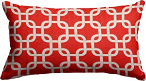 """Majestic Home Goods Red Links Indoor / Outdoor Small Throw Pillow 20"""" L x 5"""" W x 12"""" H"""