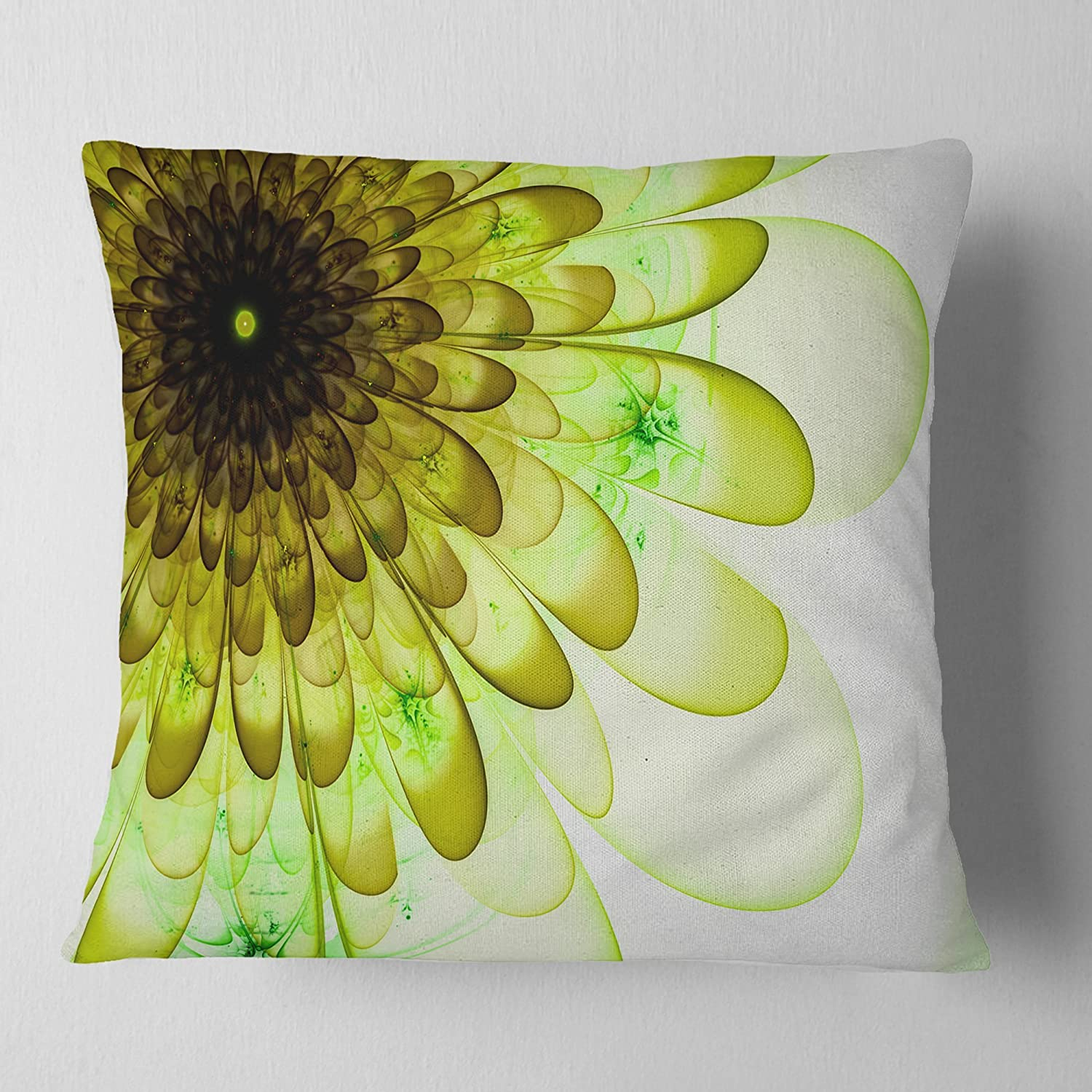 Designart CU12159-18-18 Light Green Digital Flower Petal Close up' Floral Cushion Cover for Living Room, Sofa Throw Pillow 18 in. x 18 in. in
