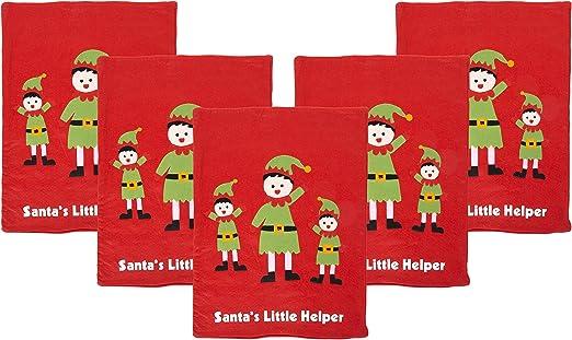 Pack de 5 sacos de Navidad de fieltro rojo Little Helper de Papá Noel: Amazon.es: Hogar