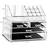 Unique Home Makeup Cosmetic Organizer Conceal/Lipstick/Eyeshadow/Brushes in One place Storage Drawers, Clear, Medium, 2 Piece Set
