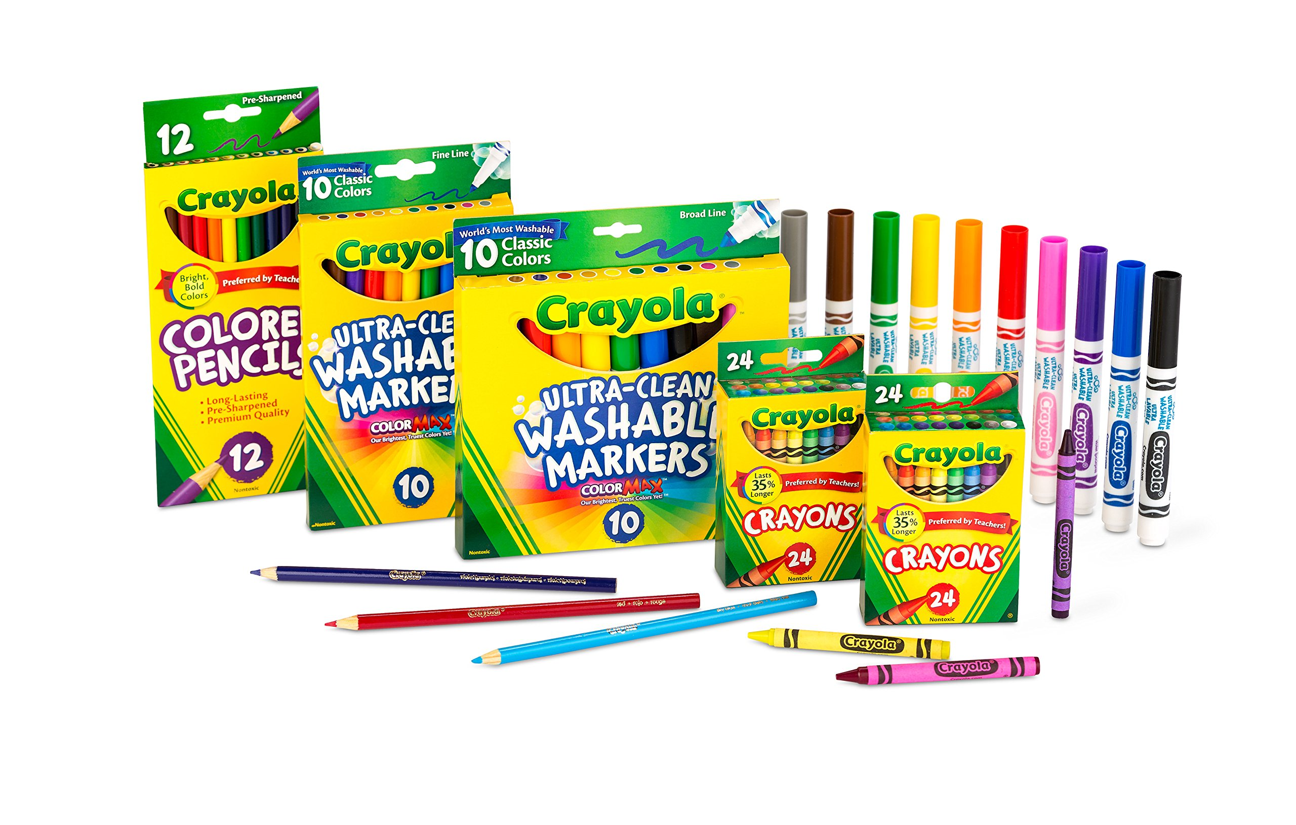 Crayola Back To School Supplies for Girls & Boys, Amazon Exclusive Art Set, 80Piece by Crayola