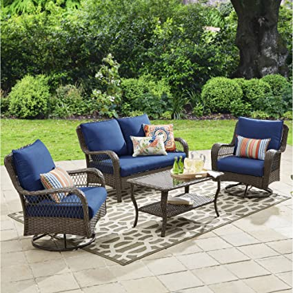Peachy Amazon Com 4 Piece Outdoor Conversation Set Seats 4 Evergreenethics Interior Chair Design Evergreenethicsorg