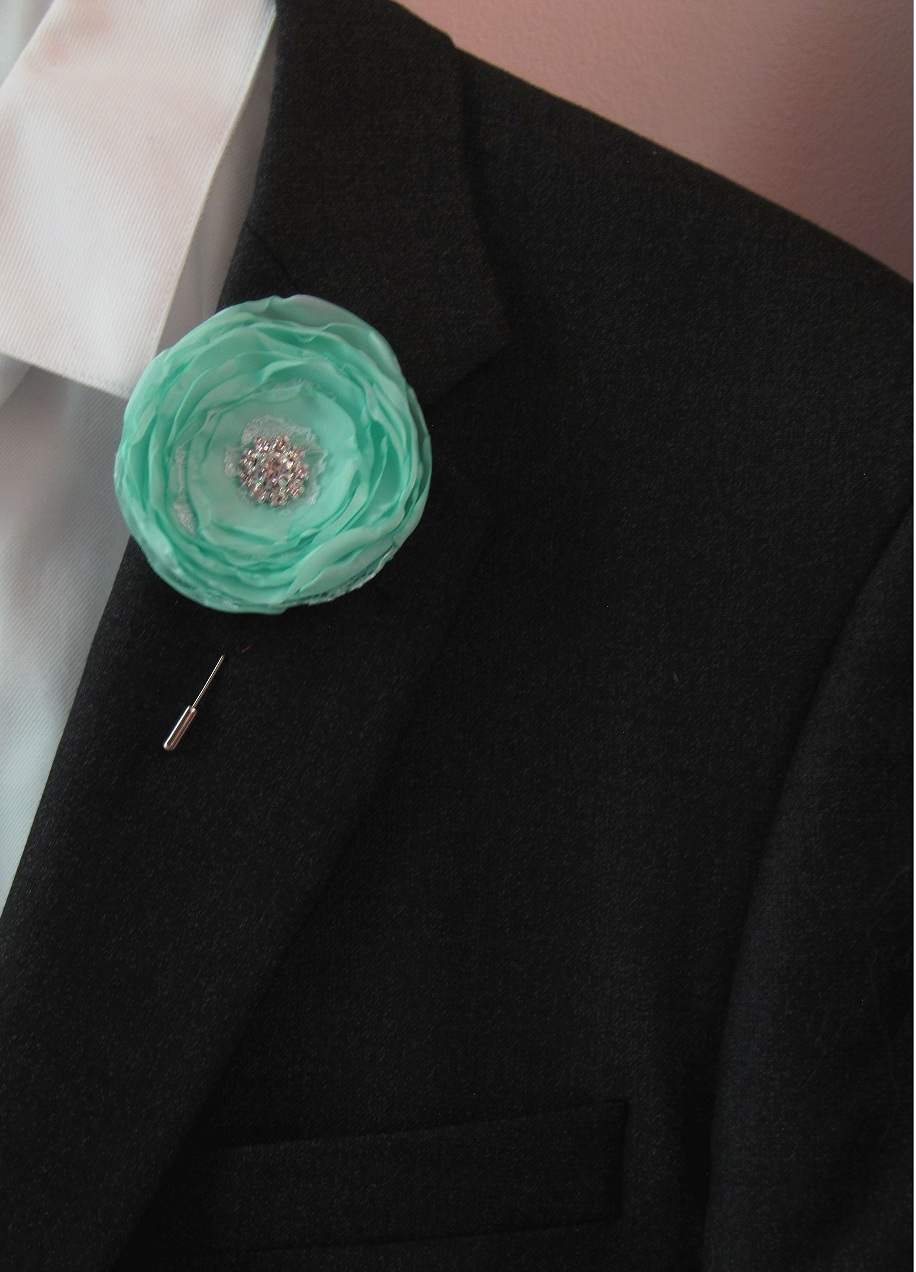 Robin's Egg Blue Boutonniere, Wedding Fabric Flower Prom Shabby Chic Spa Pool Mint Buttonhole, Groom Groomsman Vintage-Style Lapel Pin
