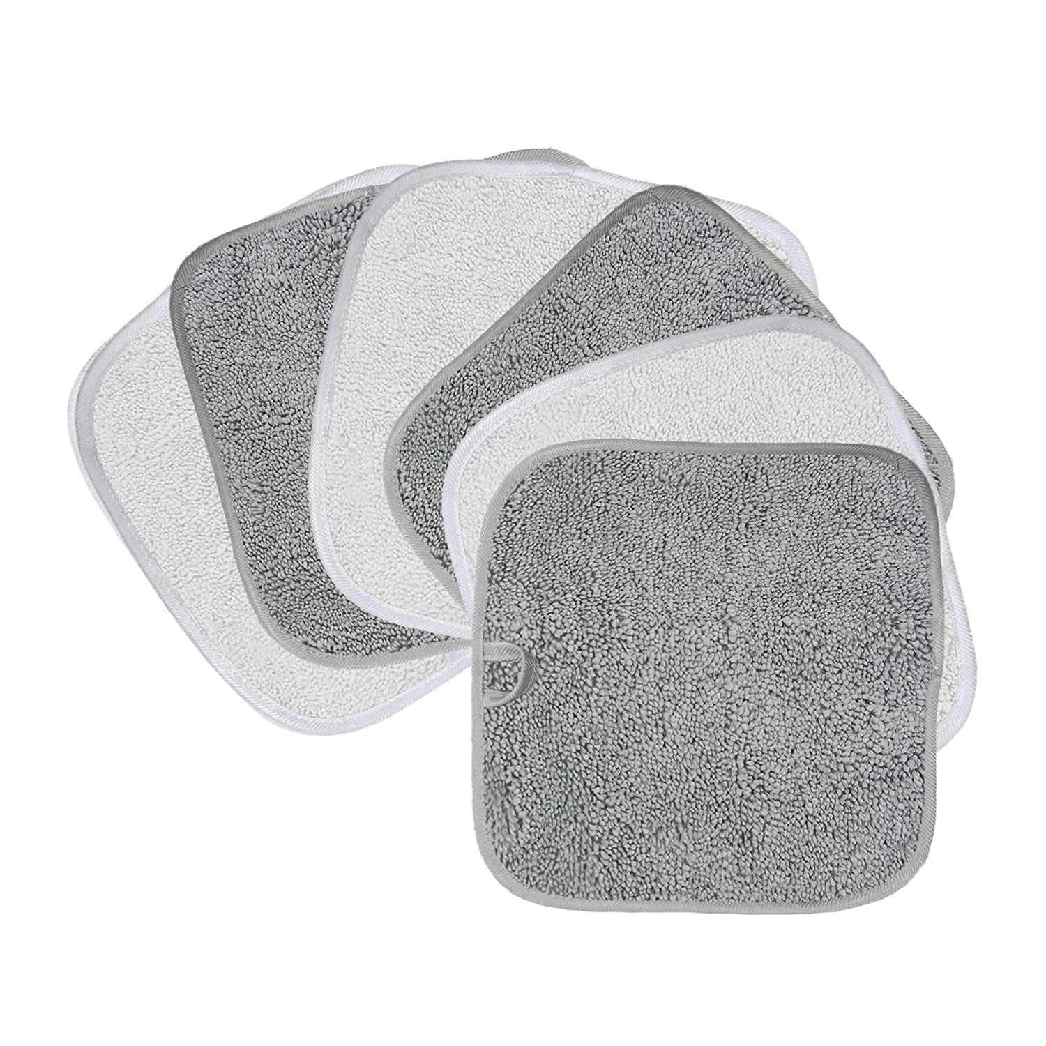Polyte Premium Hypoallergenic Chemical Free Microfiber Makeup Remover and Facial Cleansing Cloth 8 x 8 in, 6 Pack (Gray,White)