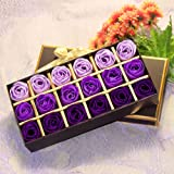 Box of 18 Exquisite Rose Petals Soap, Purple Gradient Scented Rose Flower Petal Bath and Body Soap, Essential Oil Floral Guest Soap, Perfect Gift for Weddings, Valentine's Day, Anniversary