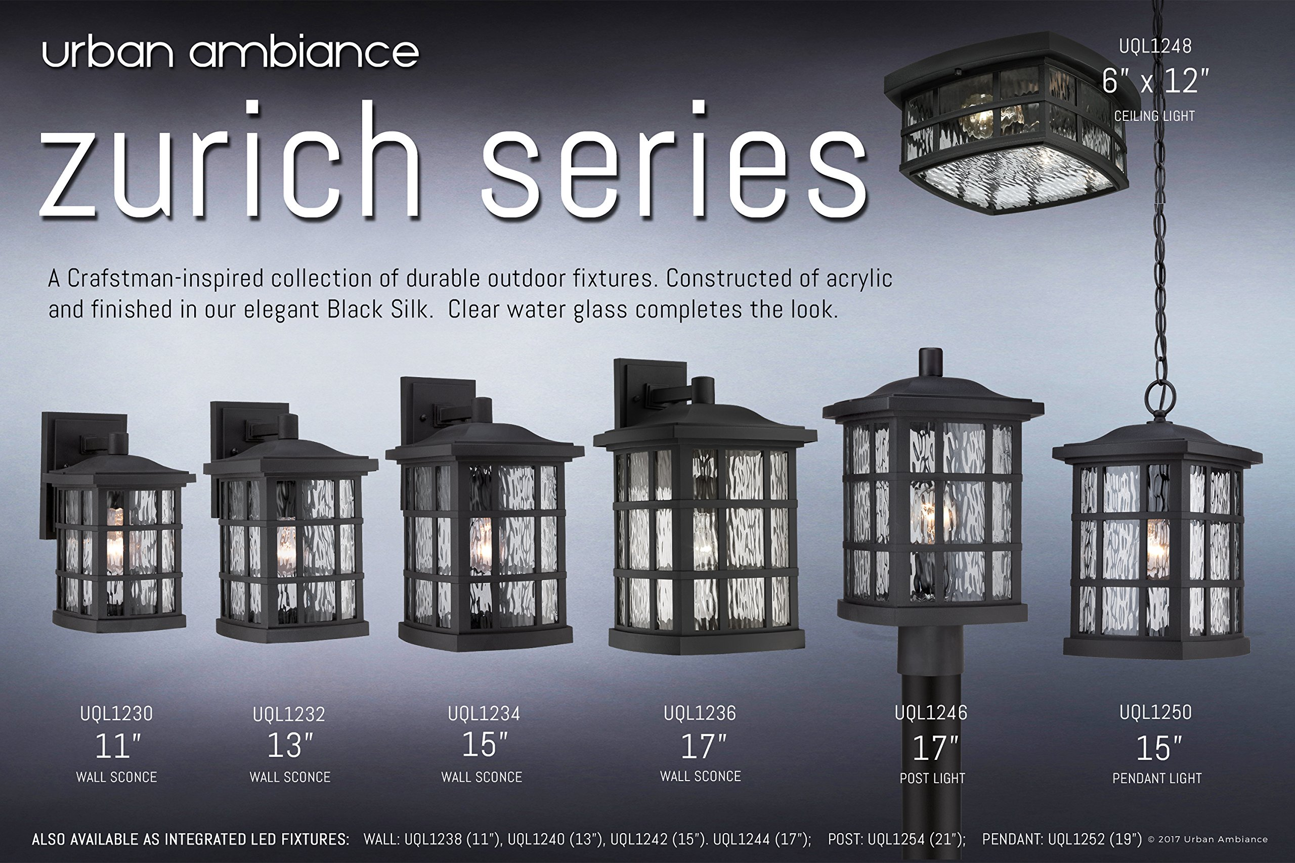 Luxury Craftsman Outdoor Ceiling Light, Small Size: 5.75''H x 12''W, with Tudor Style Elements, Highly-Detailed Design, High-End Black Silk Finish and Water Glass, UQL1248 by Urban Ambiance by Urban Ambiance