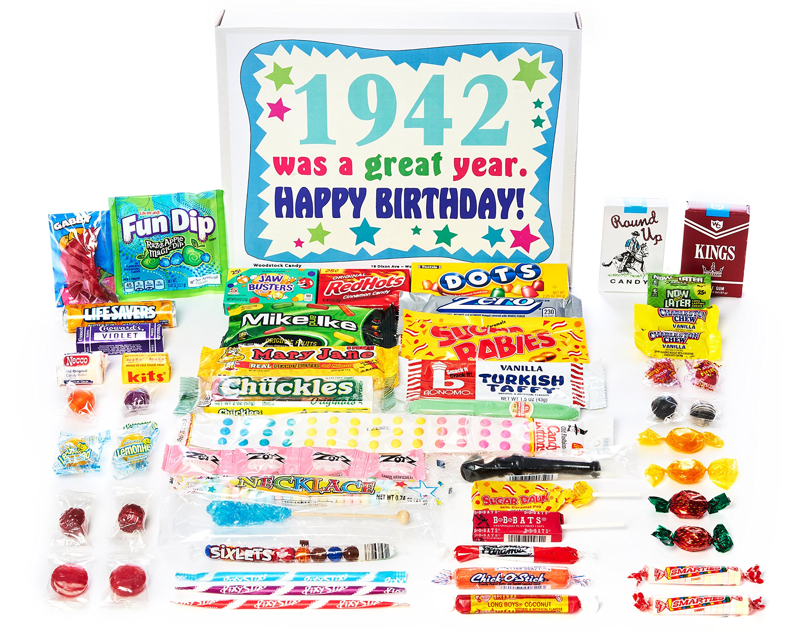 Woodstock Candy ~ 1942 77th Birthday Gift Box of Nostalgic Retro Candy from Childhood for 77 Year Old Man or Woman Born 1942