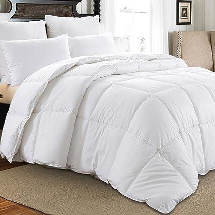 Downluxe Medium Weight White Down Comforter (Full/Queen Size),600+ Fill