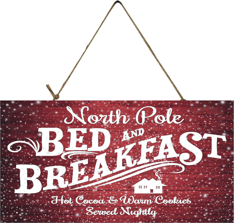 Twisted R Design Christmas Decor Hanging Wood Wall Sign (North Pole B & B)